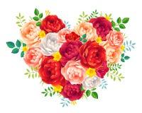 A peônia vermelha e cor-de-rosa roxa floresce com coração floral do vetor das folhas no fundo branco Fotos de Stock