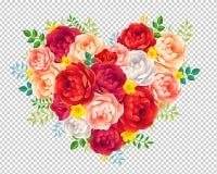 A peônia vermelha e cor-de-rosa roxa floresce com o coração floral do vetor das folhas isolado no fundo da grade da transparência Fotos de Stock
