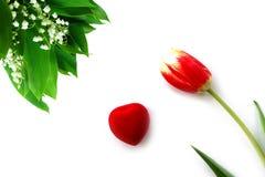 Peônia vermelha e lírio branco vale do 8 de março Foto de Stock Royalty Free
