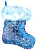 Peúga azul modelada Natal com pele branca Ilustração da aguarela Isolado ilustração stock