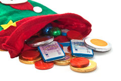 Peúga com dinheiro do chocolate Imagens de Stock Royalty Free