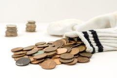 Peúga completamente das moedas de um centavo fotografia de stock