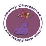 Peúga da imagem com os presentes no Natal e no ano novo Imagens de Stock Royalty Free