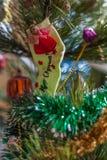 Peúga do Natal com anjo Foto de Stock