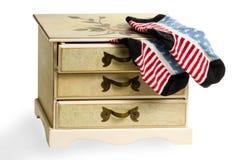 Peúgas como a bandeira americana no armário Foto de Stock Royalty Free