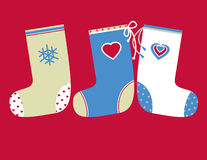 Peúgas decorativas do Natal Imagens de Stock
