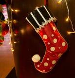 Peúgas decorativas no Natal Fotos de Stock Royalty Free