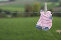 Peúgas do bebê que secam com o pregador de roupa de madeira no arame farpado, contra o fundo verde fotografia de stock