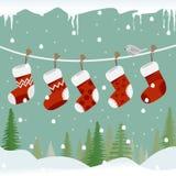 Peúgas do Natal na corda com pássaro ilustração do vetor
