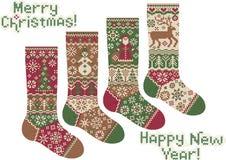 Peúgas feitas malha. Feliz Natal e ano novo! Fotografia de Stock Royalty Free
