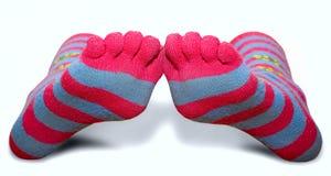 Peúgas listradas com dedos do pé Imagem de Stock Royalty Free