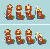Peúgas, macacos e banana 2016 Imagens de Stock