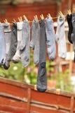 Peúgas que secam fora Fotografia de Stock