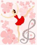 pełen wdzięku baleriny czerwień ilustracja wektor