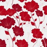 Pełen wdzięku czerwony bezszwowy kwiecisty wzór royalty ilustracja
