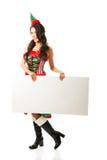 Pełna długości kobieta jest ubranym elfa mienia bielu odzieżowego sztandar Obraz Stock
