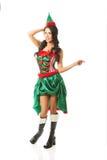 Pełna długości kobieta jest ubranym elfa odziewa wskazywać dobro Zdjęcia Royalty Free