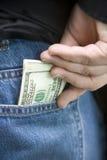 pełna pieniędzy w kieszeni Zdjęcie Stock