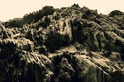 Pełna ramowa abstrakcjonistyczna skalista kamień powierzchnia Greyscale Obraz Royalty Free