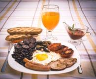 Pełne angielszczyzny smażący śniadanie z bekonem, jajko, kiełbasy, czarny pudding, ono rozrasta się Obraz Royalty Free