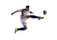 pełne działanie zdjęcia isloted piłkarza studio Zdjęcia Stock