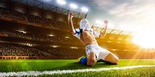 pełne działanie zdjęcia isloted piłkarza studio Obraz Stock