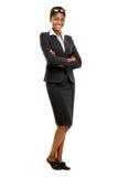 Pełnego długość amerykanina afrykańskiego pochodzenia bizneswomanu Atrakcyjny młody whit Zdjęcie Stock