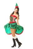 Pełnej długości piękna kobieta jest ubranym elfa odziewa, trzymający jej suknię Zdjęcie Stock