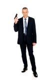 Pełnej długości poważny mafijny agent z pistolecikiem Obraz Stock