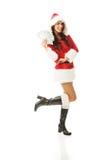 Pełnej długości Santa piękna kobieta trzyma klamerkę połysku pieniądze fotografia royalty free