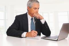 pełnoletni biznesmena biurka laptopu środek Zdjęcie Royalty Free