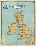 pełnoletnie brytyjskie wyspy kartografują starego Zdjęcia Royalty Free