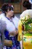 pełnoletniej nadchodzącej dziewczyny japoński kimonowy seijin shiki Zdjęcia Stock