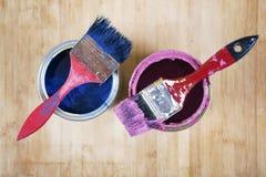 Pełny błękitni farb tines farb muśnięcia na mnie i Zdjęcia Royalty Free