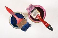 Pełny błękitni farb tines farb muśnięcia na mnie i Obraz Stock