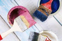 Pełny błękitni farb tines farb muśnięcia na mnie i Fotografia Royalty Free