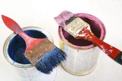 Pełny błękitni farb tines farb muśnięcia na mnie i Zdjęcie Stock