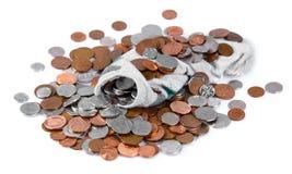 Pełny Brytyjskie monet skarpety Odizolowywać na białym tle Zdjęcie Stock