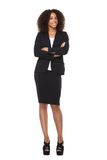 Pełny ciało portret młody biznesowej kobiety ono uśmiecha się obraz stock