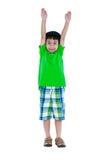 Pełny ciało uśmiecha się jego ręki up i podnosi azjatykci dziecko, isola Obrazy Stock