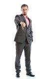 Pełny długość kostiumu krawata biznesmen z kciuka puszkiem Zdjęcie Stock