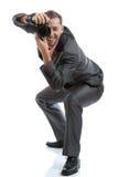 Pełny długość kostiumu krawata fotograf z kamerą Obraz Royalty Free