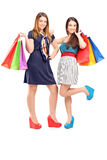 Pełny długość portret dwa młodej kobiety trzyma torba na zakupy Obraz Stock