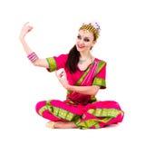 Pełny długość portret indyjski kobieta taniec Fotografia Royalty Free