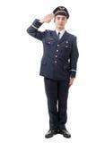 Pełny długość portret młody dowóca wojskowy salutować odizolowywam dalej Zdjęcie Royalty Free