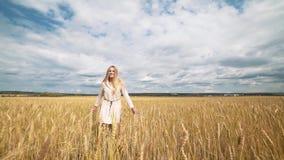 Pełny długość portret piękna młoda szczęśliwa kobieta w białym smokingowym bieg przez pszenicznego pola zdjęcie wideo