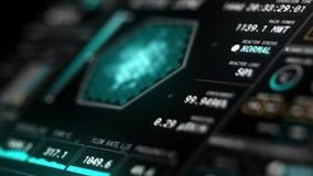 Pełny HD animował futurystycznego reaktor jądrowy deski rozdzielczej graficznego interfejs użytkownika HUD perspektywicznego wido zbiory