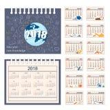 Pełny kalendarz dla ściany lub biurka roku 2018 Zdjęcie Stock