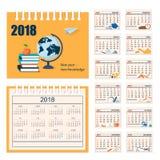Pełny kalendarz dla ściany lub biurka roku 2018 Fotografia Stock