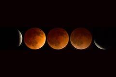 Pełny księżycowy zaćmienie złożony Kwiecień, 2014, Oregon, kaskada obrazy royalty free